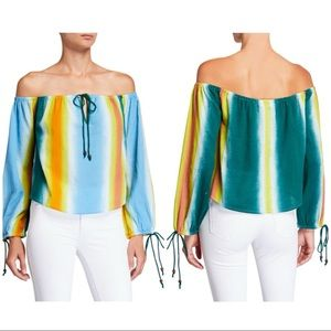 BCBGeneration off the shoulder top-ombre stripes